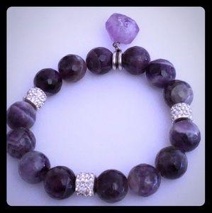 Amethyst Bead Bracelet w/ Charm stone